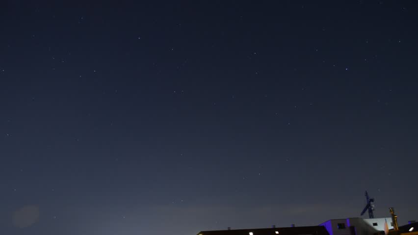 starry sky above cologne Riehl - time lapse
