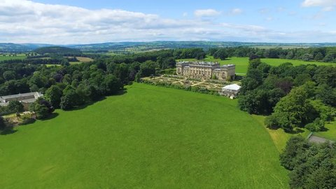 Aerial/Drone footage of Harewood House, a stately home in Leeds, England.