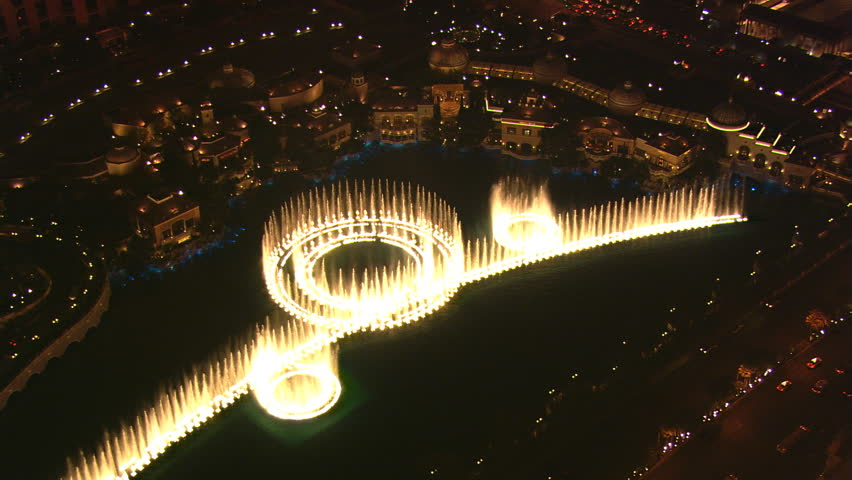 Flying over Paris Las Vegas to view the Bellagio's water show at night. Shot in 2008. | Shutterstock HD Video #26658829