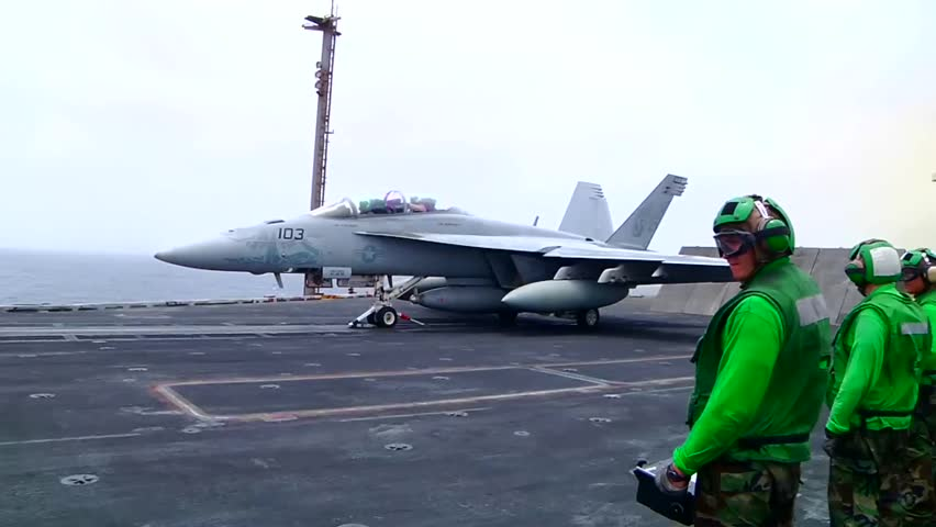 f 18 launch from aircraft carrier