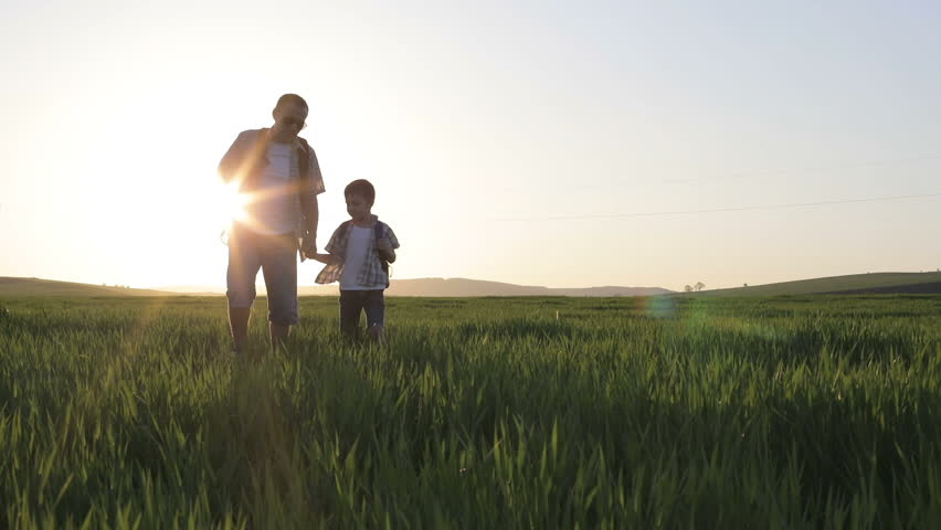 Father and son walking on the field at the day time. People having fun outdoors. Concept of friendly family. | Shutterstock HD Video #26689189