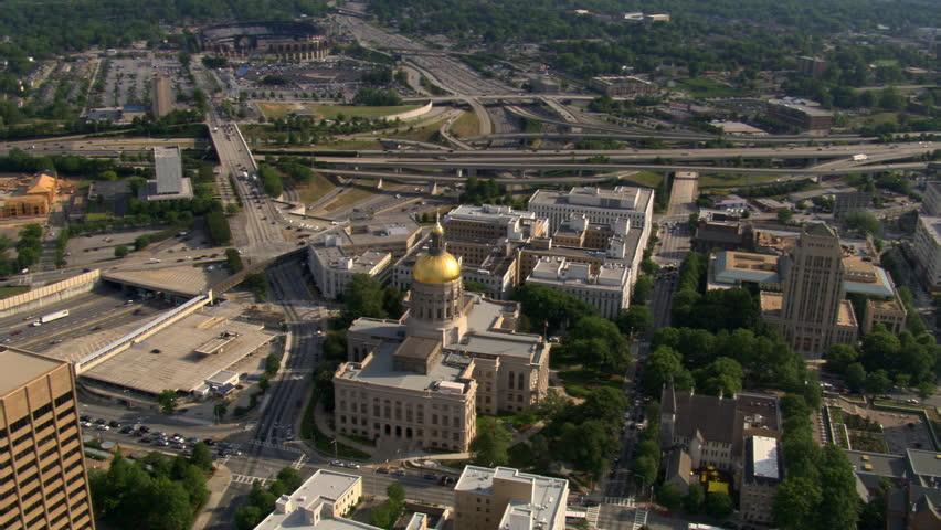 Wide orbit of Georgia State Capitol in Atlanta. Shot in 2007.