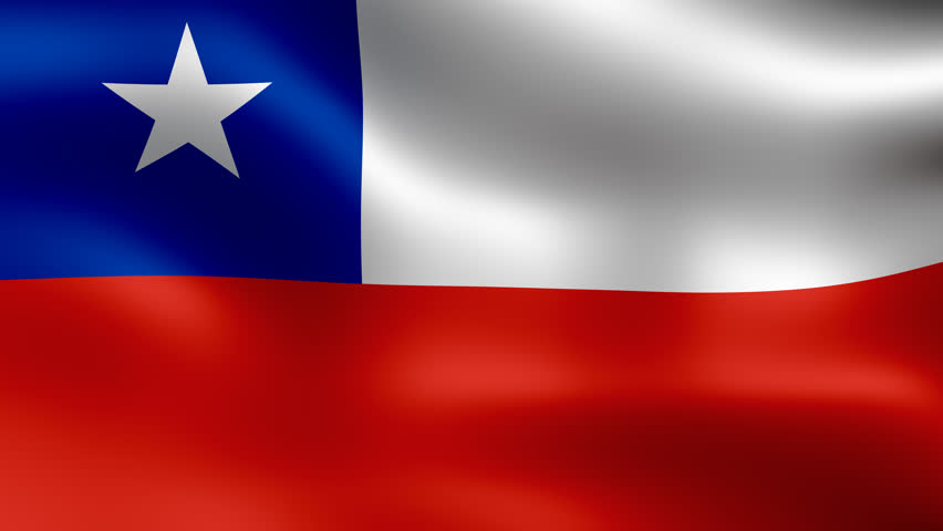 Flag of Chile, fluttering in the wind. Seamless looping video. 3D rendering. It is different phases of the movement close-up flag in the wind. 4K, 3840x2160.