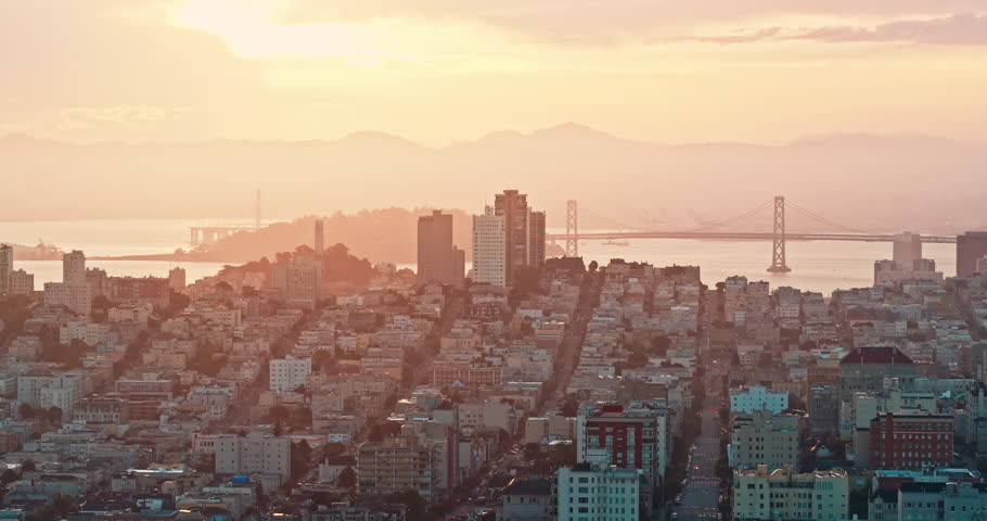 Aerial Drone Of The San Francisco skyline Russian Hill, Pacific Heights