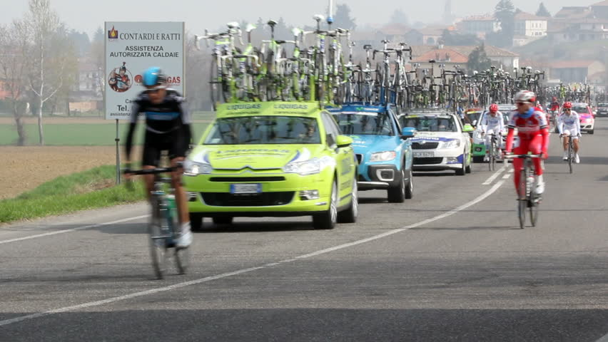 "MONTEBELLO DELLA BATTAGLIA, ITALY - MARCH 17: Milan-Sanremo cycle race. ""The Spring classic"" annual cycle race Milano-Sanremo  on March 30, 2012  in Montebello d. Batt., PV, Italy."