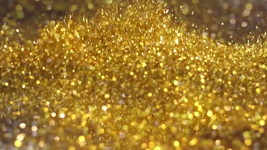 Big Explosion Golden and Silver Glitter Dust Tiny reflect light in the Air and falling, Dark black background, Selective Focus close up blurred and slow motion #26752087