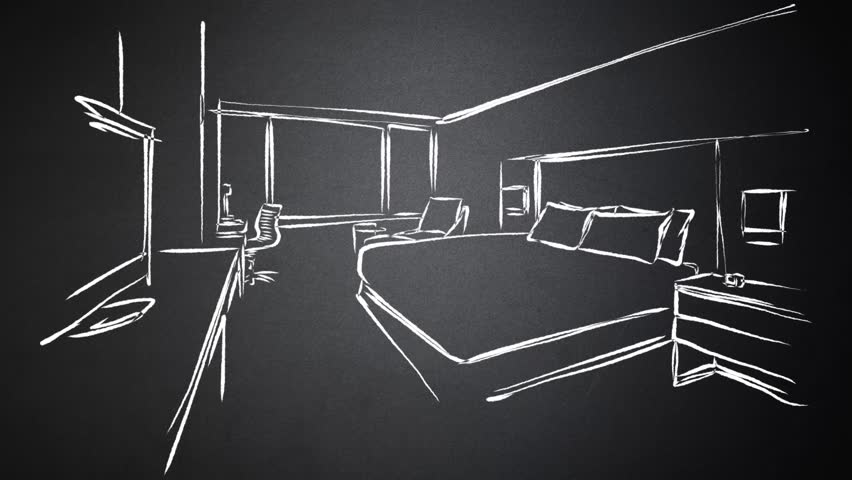 Hotel Room Interieur Animated Drawing on Chalkboard. hand-drawn outline Sequence. Five seconds buildup, two seconds Loop, 3 seconds Clean the chalkboard