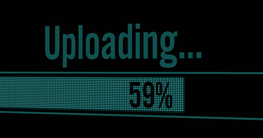Close Up Shot (Pixel Screen) of Uploading Process Animation.