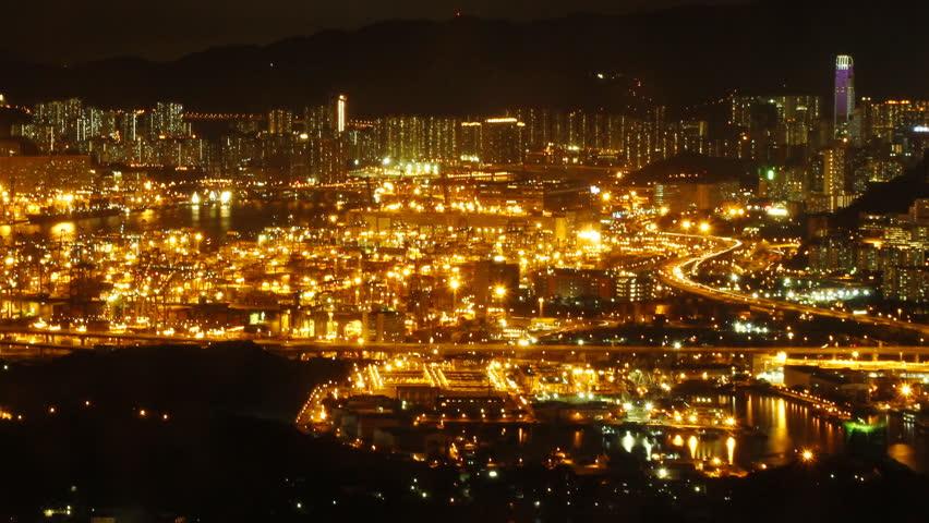 Time lapse of Hong Kong Kwai Tsing Container Terminal Panorama at Night.