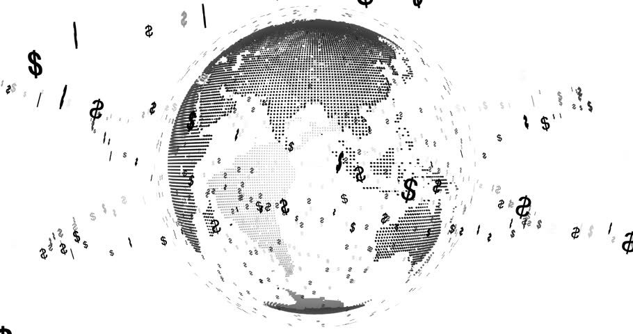 Earth rotating surrounded by dollars particles with alpha channel | Shutterstock HD Video #26816929
