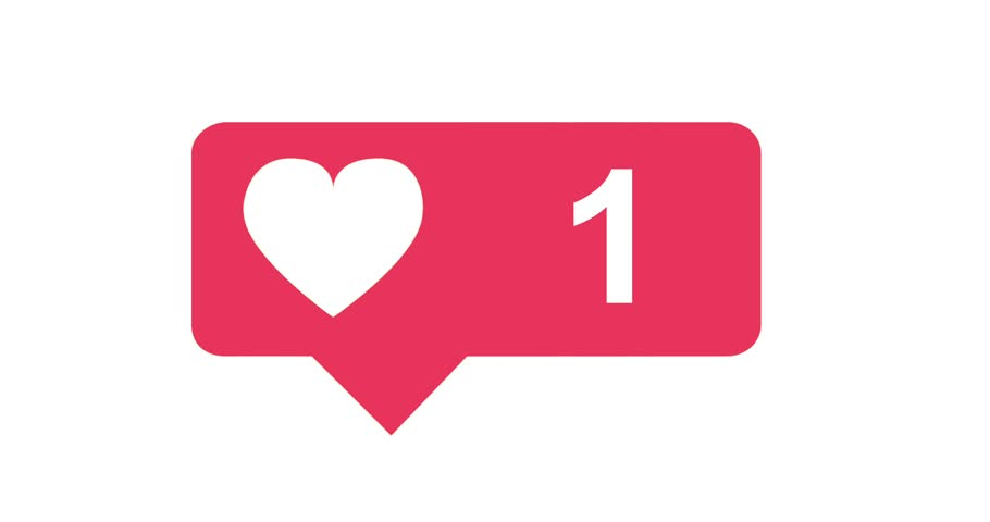 Modern like pink icon on white background with animating numbers counting. Perfect to show any social media like Facebook.. Make the like animation bigger of smaller to drag it on a white background.