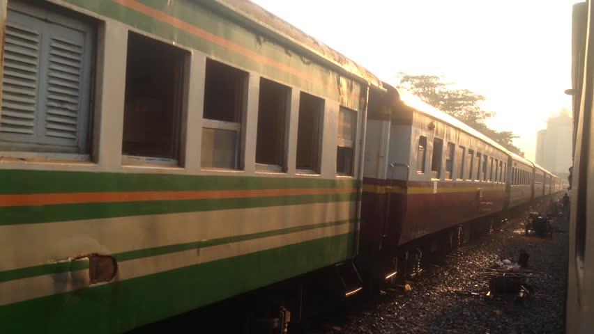 BANGKOK, THAILAND - MAY 1, 2017: At Thonburi Train Station, Train Thonburi(Bangkok)-Namtok(Kanchanaburi) is leaving the station,Bangkok Thailand. | Shutterstock HD Video #26846539
