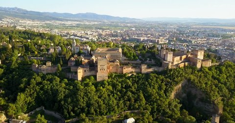 Aerial view. Alhambra Palace on a beautiful sunny evening. Granada, Spain.