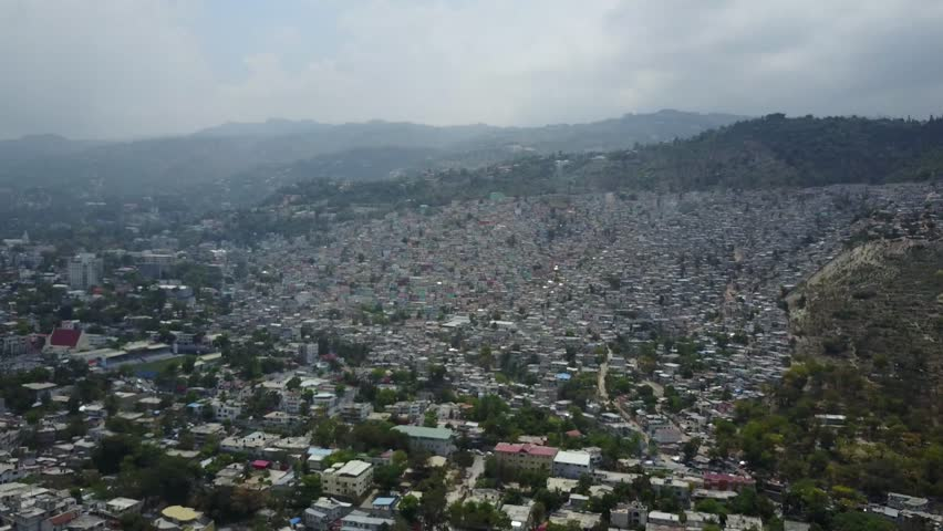 Port-au-Prince, Haiti - April 7, 2017: Aerial view of houses in Port-au-Prince, Haiti in a cloudy day