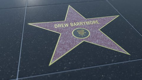 Hollywood Walk of Fame star with DREW BARRYMORE inscription. Editorial 4K clip