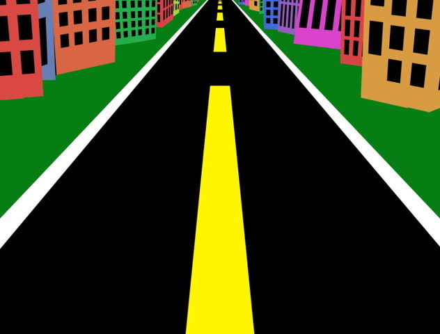 animated road on a sunny day seamlessly loops stock