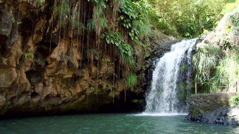 Pretty wide shot of Annandale falls in Grenada