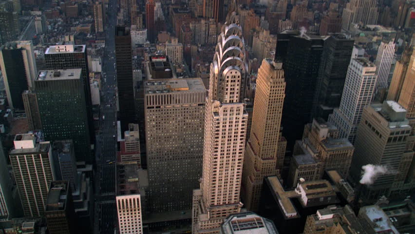 Rare Aerial Footage with Tilt Down over Spire of Chrysler Building late 1980's