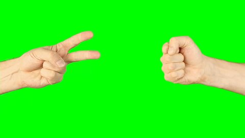 Rock paper scissors hand game. Two hands bottom side view. Green screen chroma key alpha matte. Hand gestures competition. Make choice. Random selection methods. Winner loser tournament. Play game.