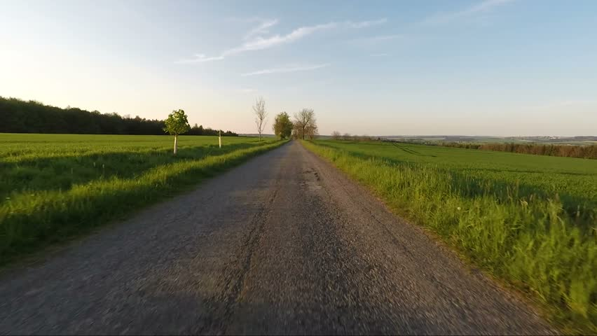 Car driving in evening spring rural countryside road on a sunny day. Landscape with trees and blue sky with sunlight, travel and transportation concepts. 60 FPS POV view