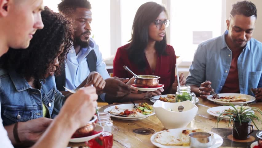 4K Happy Family Eating Breakfast Together, Father Gives ...