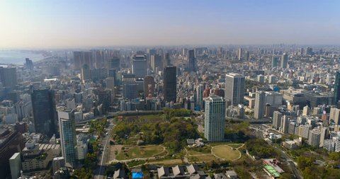 Aerial view of Tokyo skyline with morning light, Japan. Cityscape with downtown buildings.