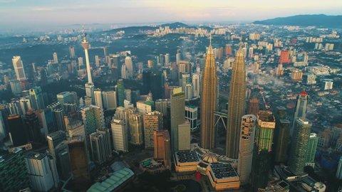 Kuala Lumpur, January 2017 : Aerial view of buildings and landmarks during sunrise at Kuala Lumpur, Malaysia.