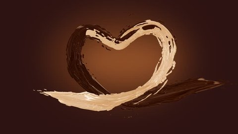Milk chocolate love heart tasty shape, Milk splashes liquid wave, best for Valentines day, 3d rapid  animation with alpha channel mask and isolated color key mask for elements