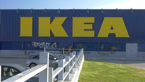 thessaloniki greece january 17 2016 ikea building with graffiti drawn walls