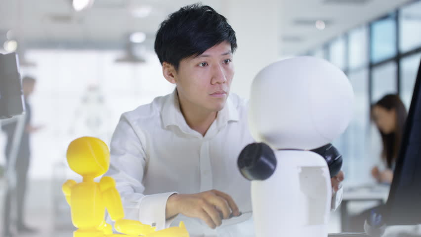 4K Asian electronics engineer working in lab with robot prototype | Shutterstock HD Video #27092599