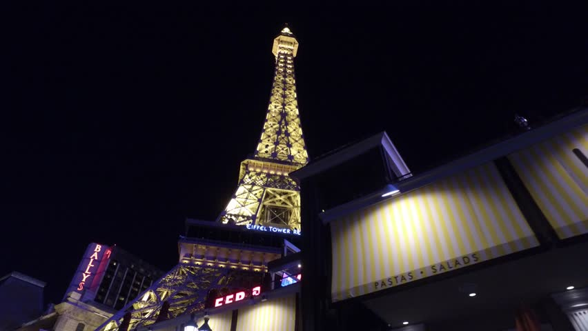 The Eiffel Tower at Paris Hotel and Casino in Las Vegas - LAS VEGAS / NEVADA - APRIL 23, 2017 | Shutterstock HD Video #27094429