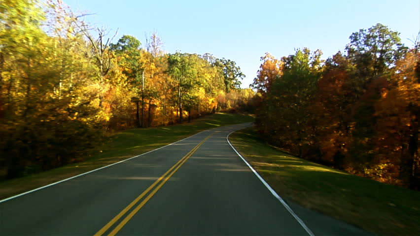 POV of driving down a quiet rural highway during the day in autumn 1080 HD video | Shutterstock HD Video #2709662