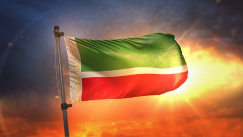 Chechen Republic Flag Backlit At Beautiful Sunrise Loop Slow Motion 3D Rendering 4K