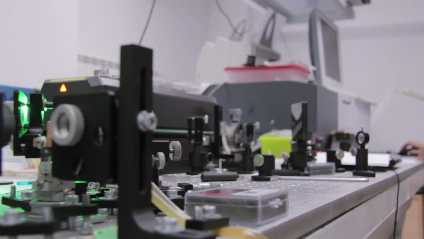 Experiments with a laser system in the laboratory