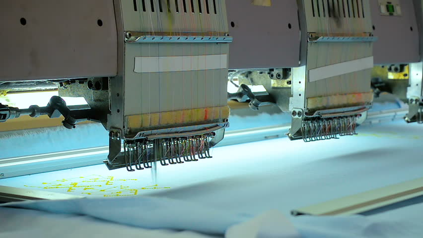 Close-up professional embroidery equipment at garment factory | Shutterstock HD Video #27160009