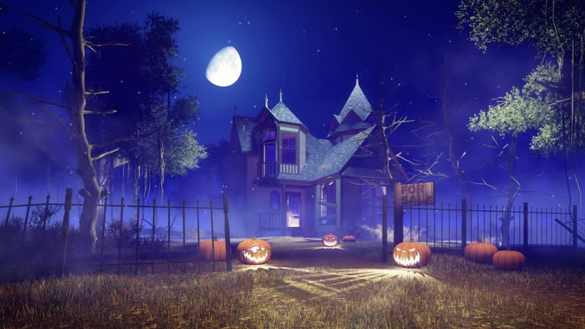 Abandoned haunted house with Jack-o-lantern Halloween pumpkins and mystic firefly lights flying around creepy dead trees at misty night. Zoom in animation in cinemagraph style | Shutterstock HD Video #27184819