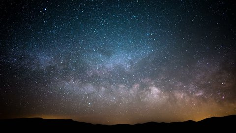 Milky Way Galaxy in Spring Sky 36 Time Lapse Stars and Meteors