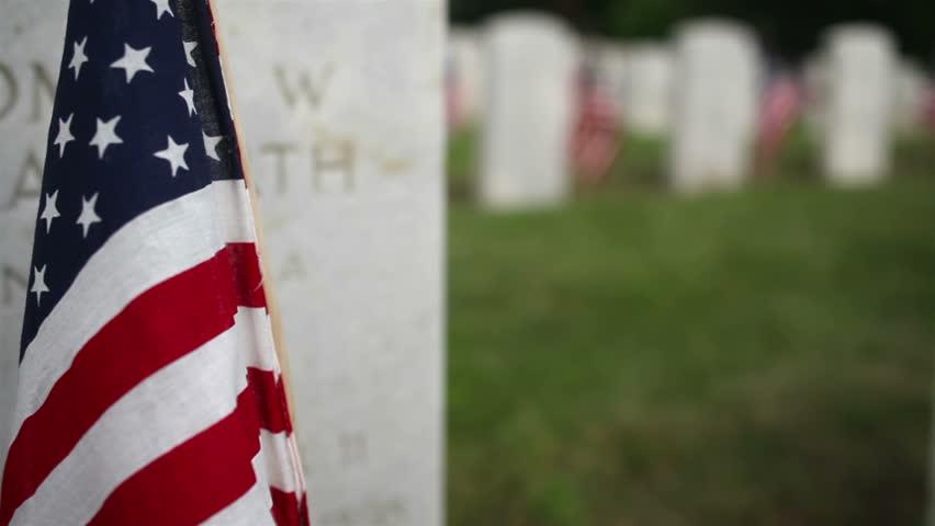 Crane/Dolly Shot Rising Military Cemetery