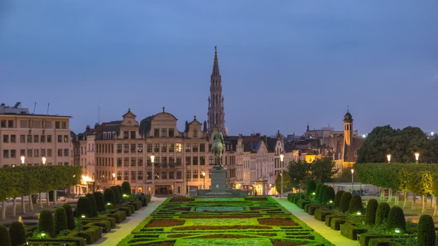 Brussels city skyline day to night timelapse at Mont des Arts Garden, Brussels, Belgium, 4K Time lapse