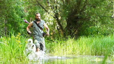 Archer man running and shooting the bow and arrow in the swamp.Dogs Laika running with him .Slow motion