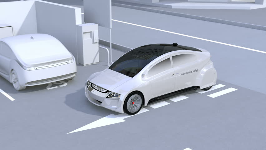 Autonomous car parking by intelligent parking assist system. 3D rendering animation. | Shutterstock HD Video #27261829