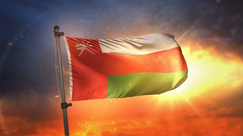 Oman Flag Backlit At Beautiful Sunrise Loop Slow Motion 4K