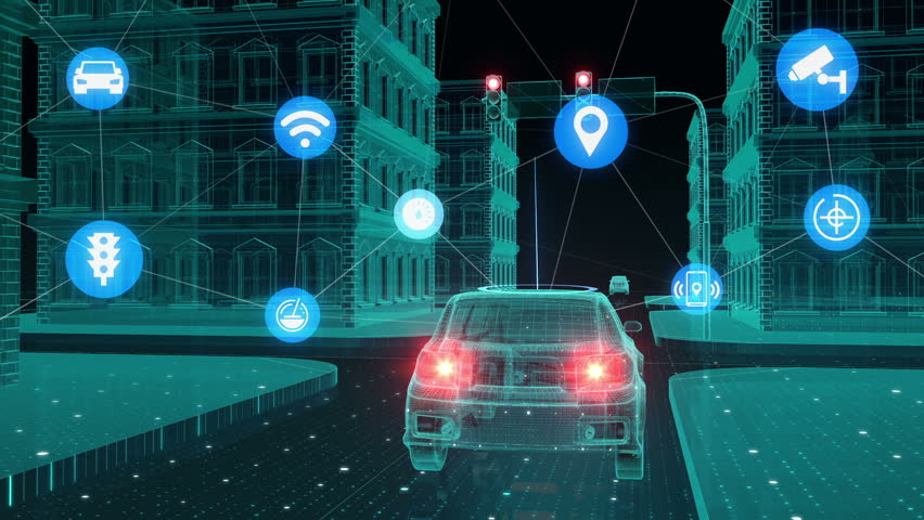 IoT car connect traffic information control system, Internet of things concept.