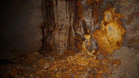 Uranium ore in the depth of a uranium mine. Colored texture. Scree in the mine.