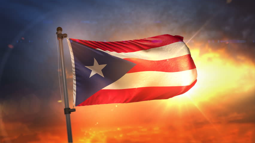 Puerto Rico Flag Backlit At Beautiful Sunrise Loop Slow Motion 4K