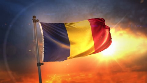 Romania Flag Backlit At Beautiful Sunrise Loop Slow Motion 4K