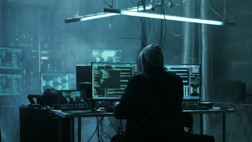 Fully Armed Special Cybersecurity Forces Soldier Arrests Highly Dangerous Hacker. Hideout is Dark and Full of Computer Equipment. Shot on RED EPIC-W 8K Helium Cinema Camera.