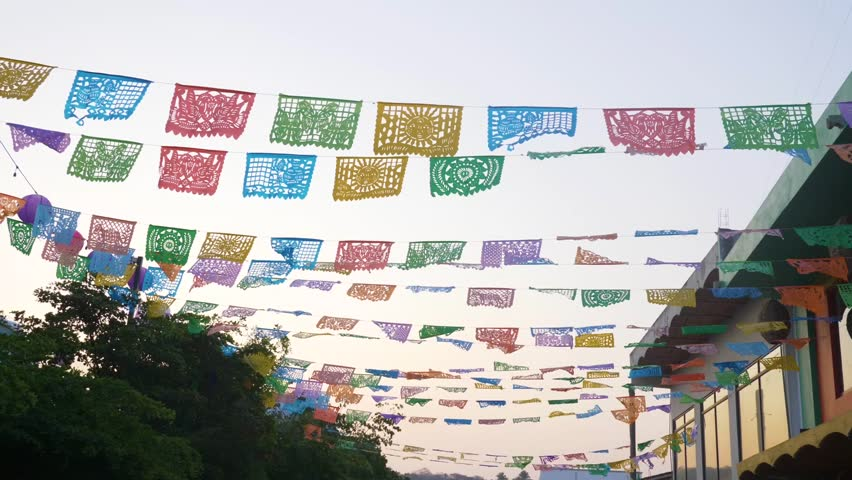 Colorful flags in Sayulita Mexico