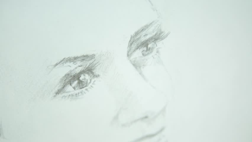 Drawing of a girl on a white background. The camera makes a zoom in on the eyes. | Shutterstock HD Video #27331963