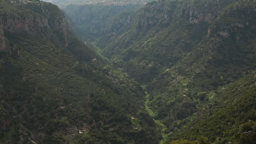 Qadisha Valley, Lebanon. Pan-right on an impregnable and fertile landscape, which allowed for the shelter of Christian communites for centuries.